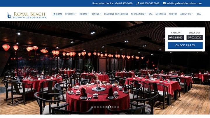 Website Royal Beach Boton Blue Hotel & Spa