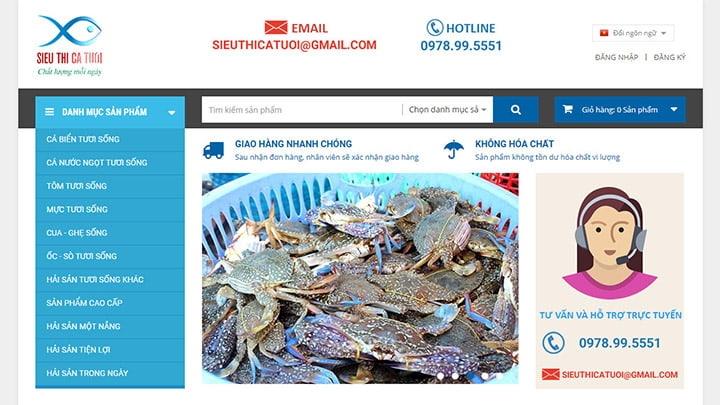 Website Siêu thị cá tươi