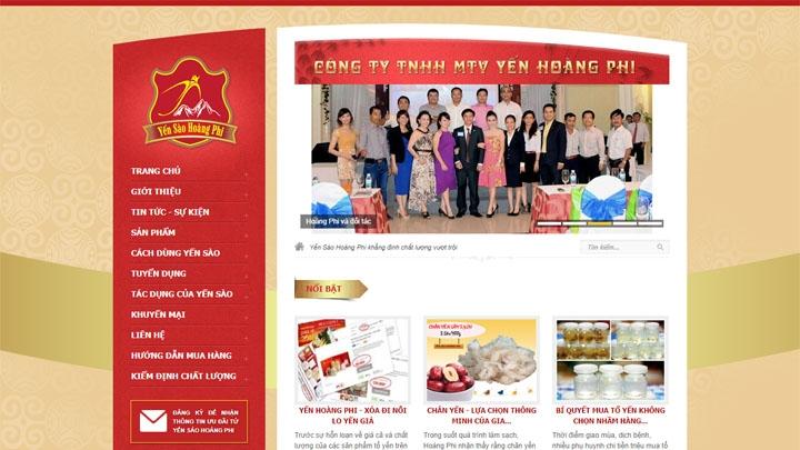 Website Công ty Yến Sào Hoàng Phi
