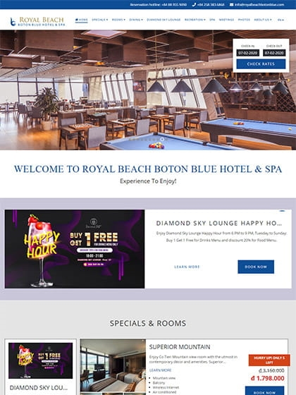 Website Royal Beach Boton Blue Hotel & Spa